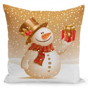 Vánoční povlak na polštář se sněhulákem