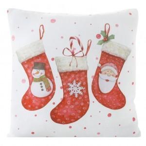 Bílý dekorační povlak na polštář s vánočním motivem