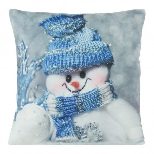 Povlak na polštář s motivem sněhuláka modré barvy