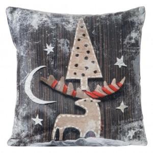 Hnědý vánoční povlak na polštář s motivem soba