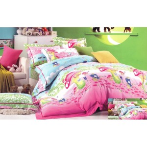 Modro růžová povlak na dětskou postel s hříbky