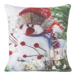 Vánoční dekorační povlak s motivem sněhuláka