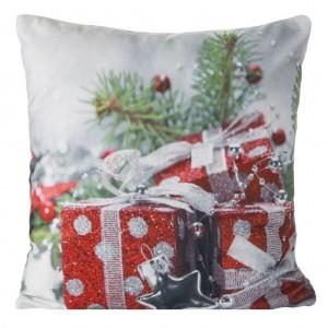 Dekorační vánoční povlak na polštář šedé barvy