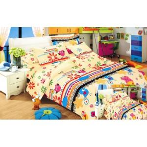 Povlak na dětskou postel žlutá s ptáčky