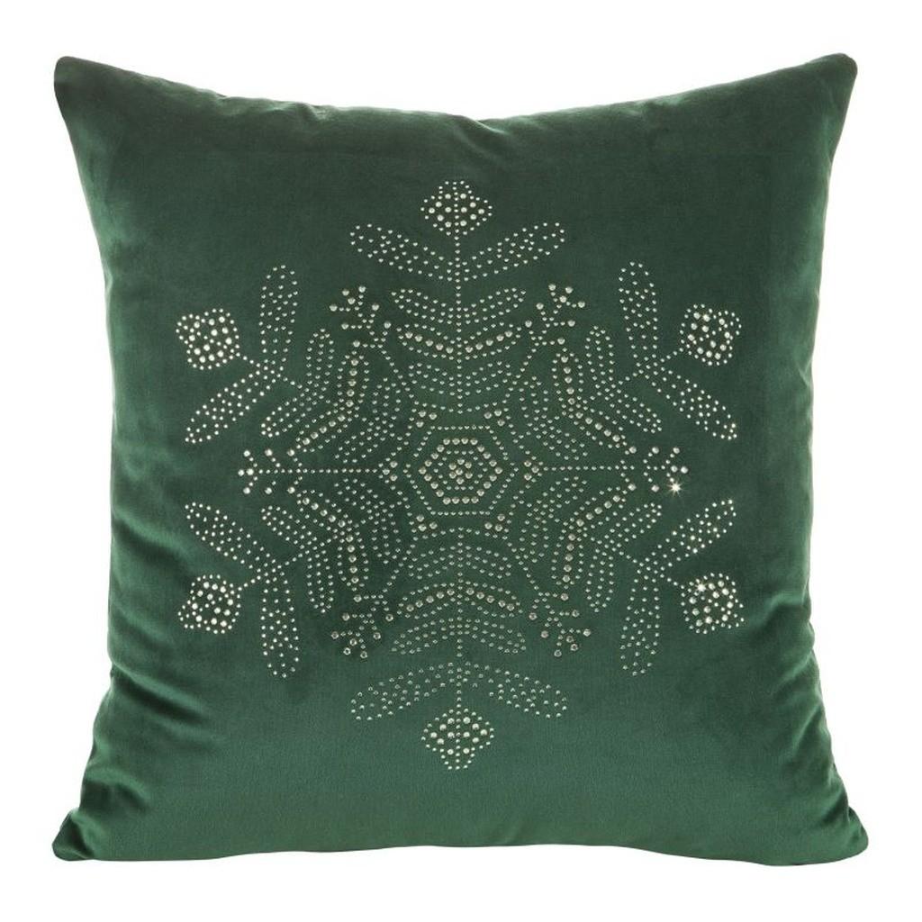 Vánoční povlak zelené barvy se stříbrnou aplikací