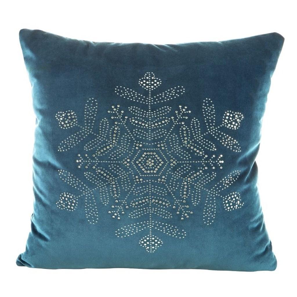 Modré vánoční povlaky na polštáře s motivem vločky