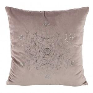 Růžový povlak na polštář s motivem sněhové vločky