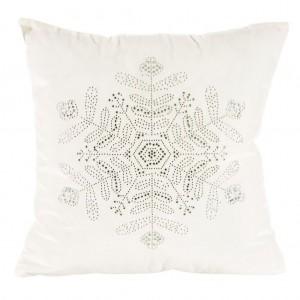 Bílé vánoční povlaky na polštáře se stříbrnou aplikací