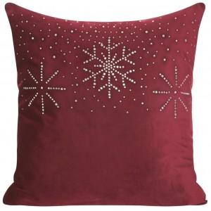 Bordó povlak na polštář s motivem Vánoc