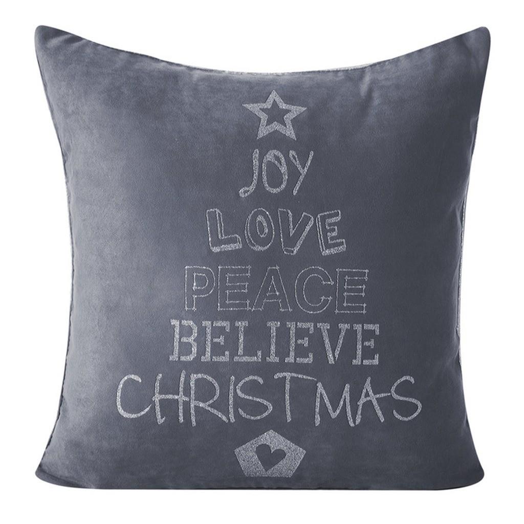 Ozdobný vánoční povlak na polštář šedé barvy