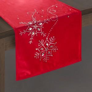 Červený dekorační vánoční běhoun na stůl