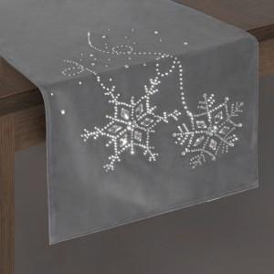 Elegantní šedá vánoční štola na stůl s lesklými kamínky
