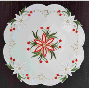 Nadčasové kulaté vánoční prostírání s motivem květu