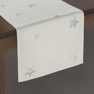 Krásný vánoční béžový ubrus na stůl s kamínky