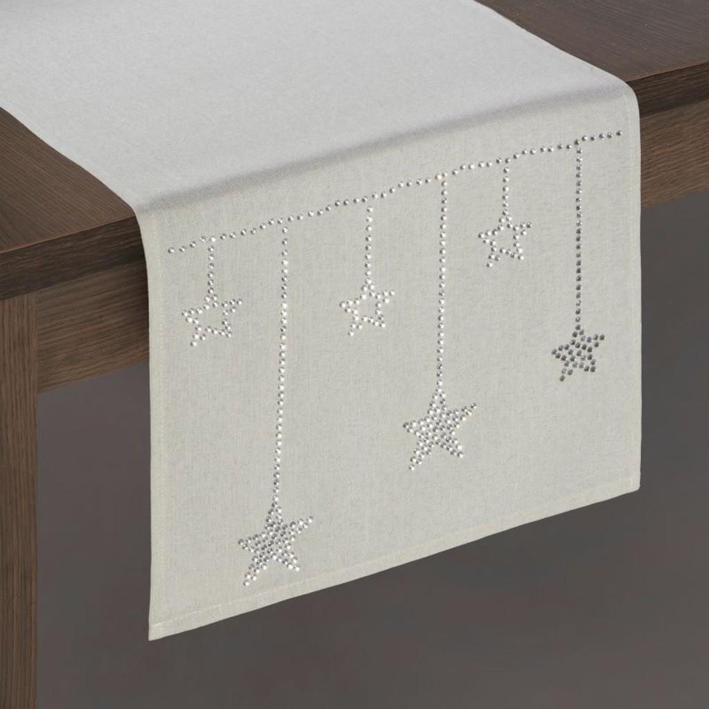 Vánoční béžová štola na stůl s ozdobnými kamínky