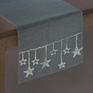Šedá vánoční štola na stůl s ozdobnými kamínky