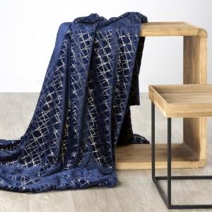 Luxusní deka tmovo modrá s dekorativním zlatým ornamentem