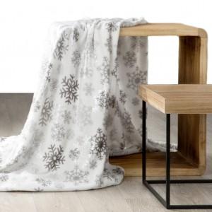 Hřejivá krémová deka s vánočním motivem sněhových vloček
