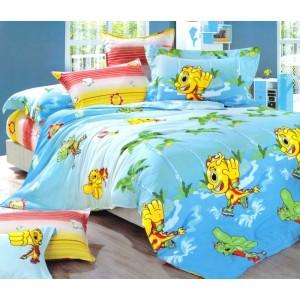 Modré povlečení na dětskou postel s dráčkem