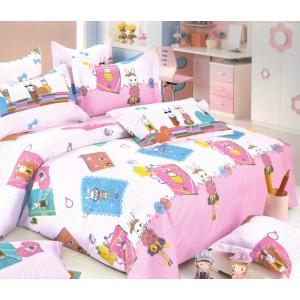 Bílo růžové povlečení na postel s dětským motivem