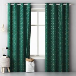 Luxusní tmavě zelený dekorační závěs se zlatým vzorem