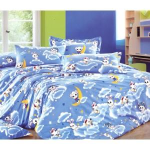 Modrý povlak na postel pro děti s ovečkou na oblaku