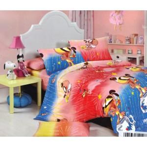 Modro červené povlečení na dětskou postel se zvířátky