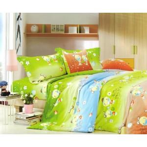 Zelený povlak na dětskou postel se zvířátky