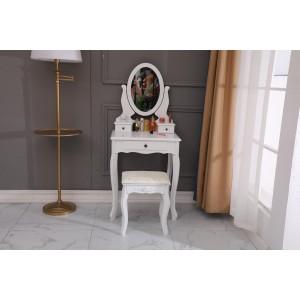 Retro toaletní stolek se zrcadlem a židličkou