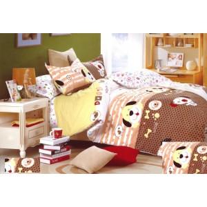 Hnědé ložní povlečení na dětskou postel se psem