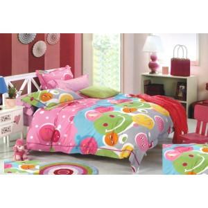 Růžovo - šedé povlečení na dětskou postel se smajlíky