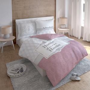 Moderní bílo růžové povlečení s nápisem HOME