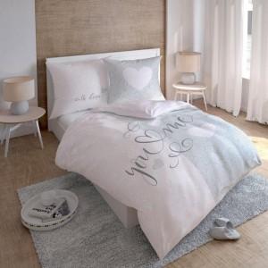 Elegantní růžovo šedé ložní prádlo z bavlny