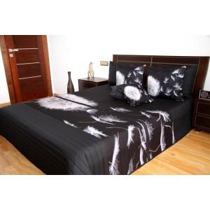 Přehoz na postel černé barvy s motivem odkvetlé pampelišky