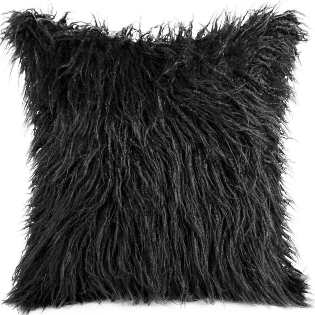 Černý chlupatý povlak na polštáře 45x45 cm
