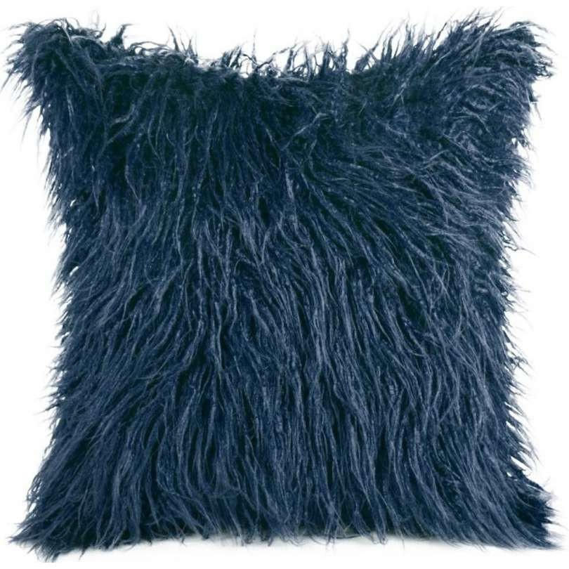 Ozdobný chlupatý povlak tmavě modré barvy