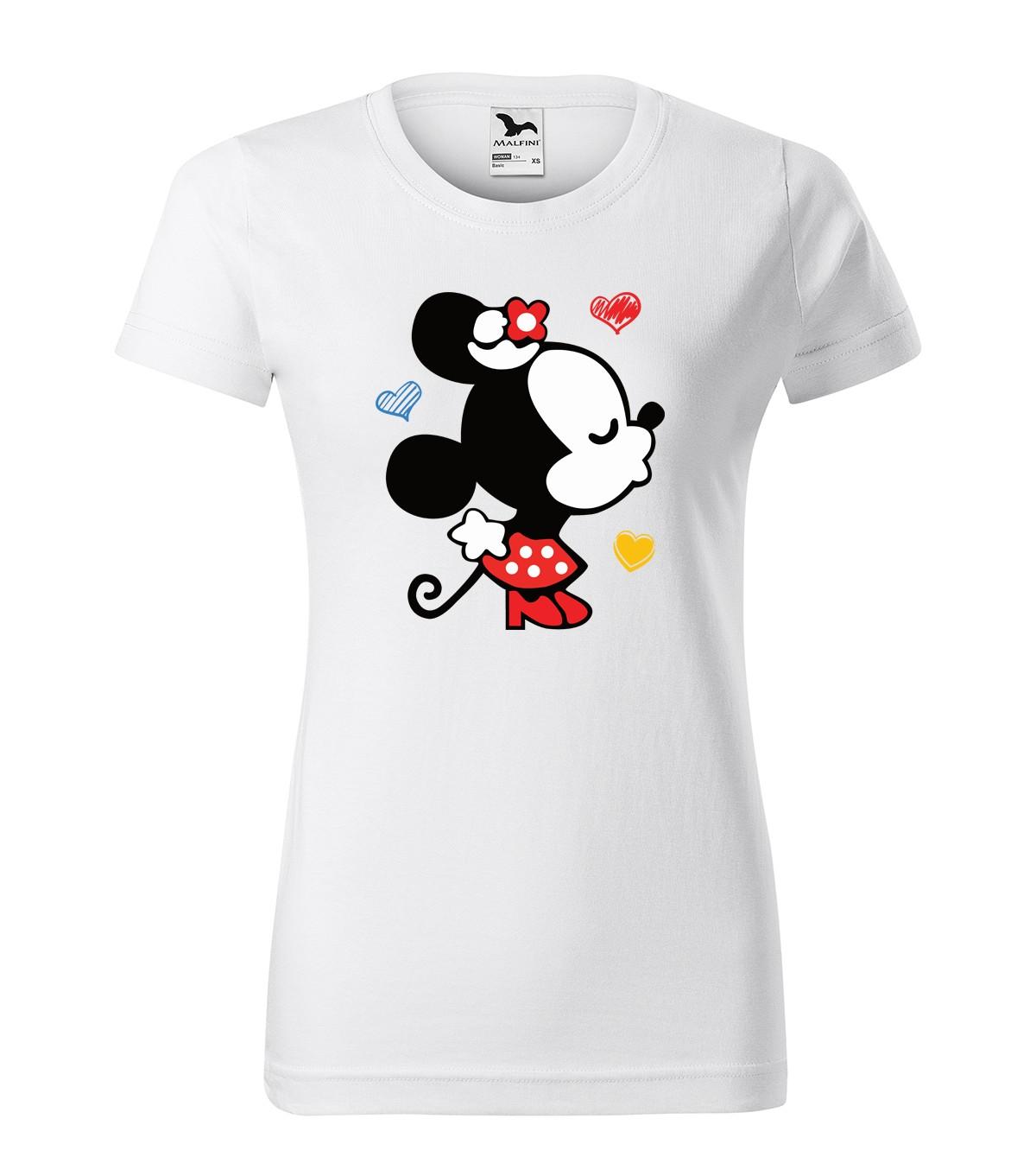 Bílé dámské tričko na valentýna s potiskem minnie