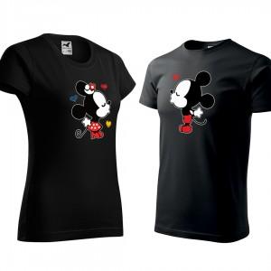 Set valentýnských triček černé barvy mickey a minnie