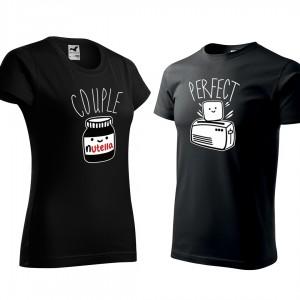 Černé valentýnské trička pro zamilované páry