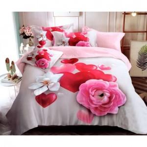 Stylové povlečení na postel se srdíčky a květinami