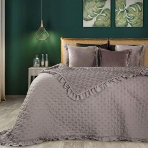 Béžový přehoz na postel s límcem