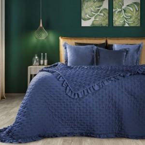 Stylový přehoz do ložnice v modré barvě