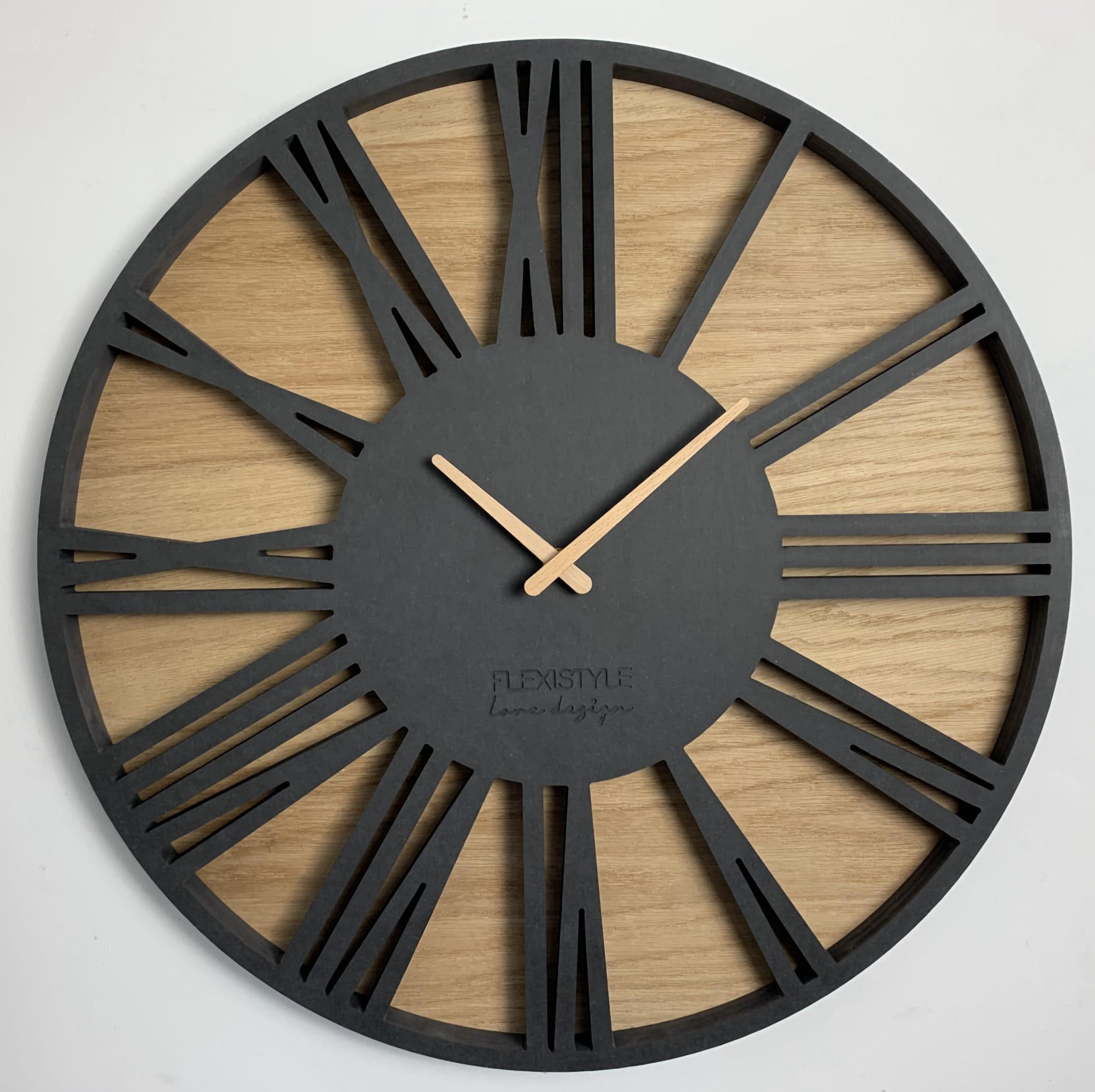 Luxusní dřevěné hodiny s průměrem 50cm ROMAN LOFT