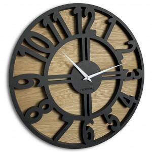 Kvalitní hodiny ze dřeva kulatého tvaru ARABIC LOFT