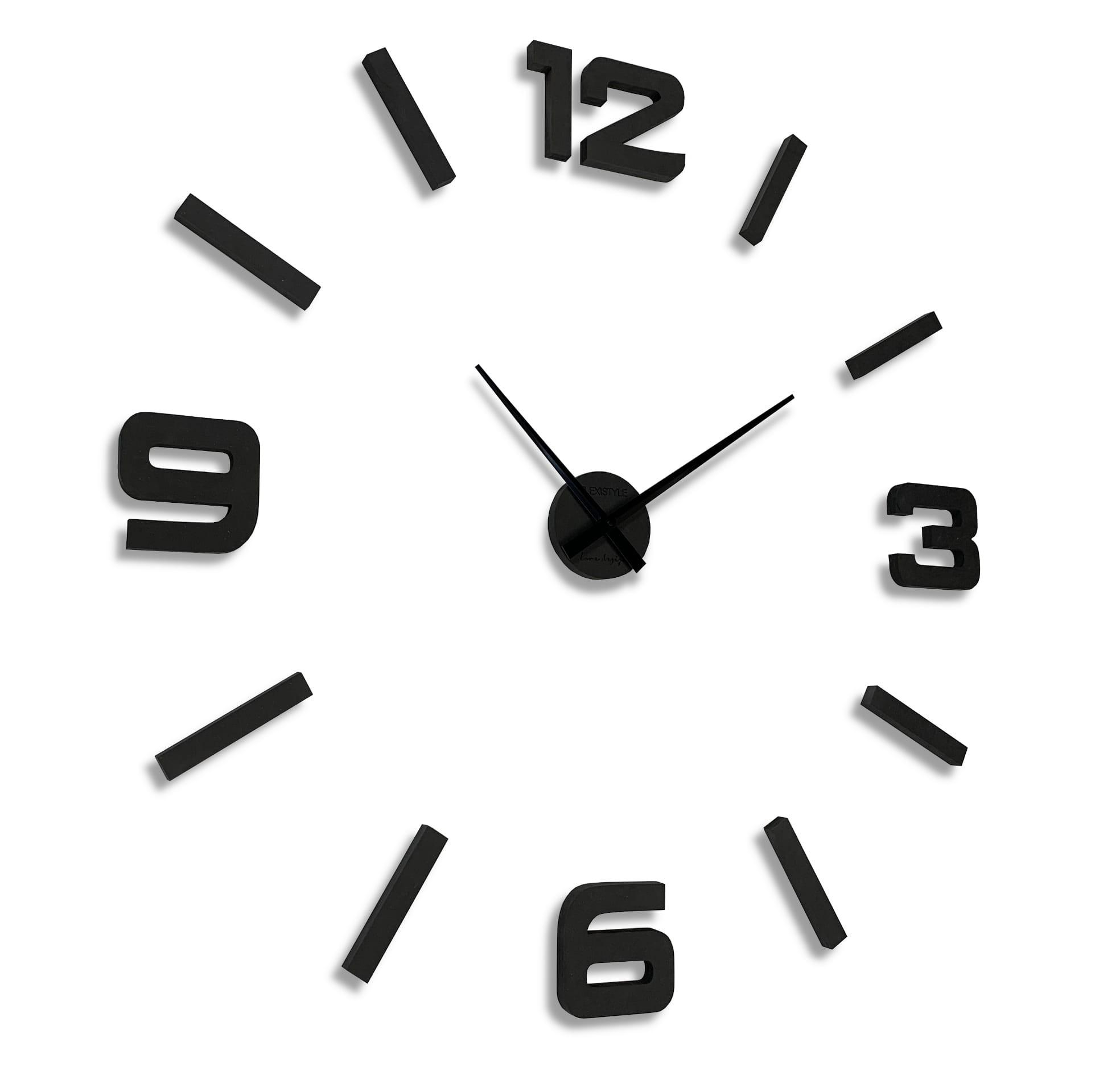 Drevené hodiny na stenu v čiernej farbe 130cm