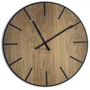 Velké dřevěné hodiny v hnědé barvě 60cm