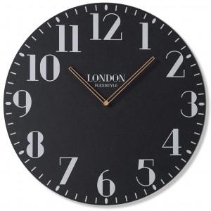 Retro nástěnné hodiny v černé barvě LONDON RETRO 50cm