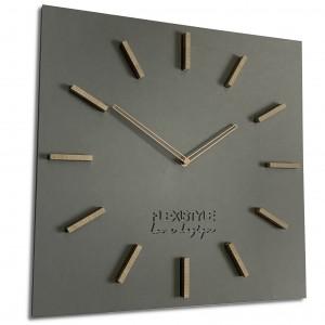 Velké nástěnné hodiny ze dřeva v šedé barvě