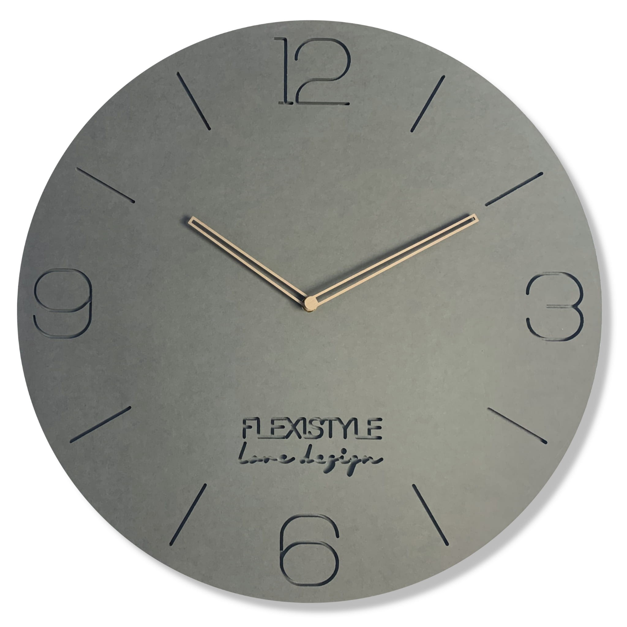 Luxusní hodiny ze dřeva v šedé barvě s průměrem 50cm