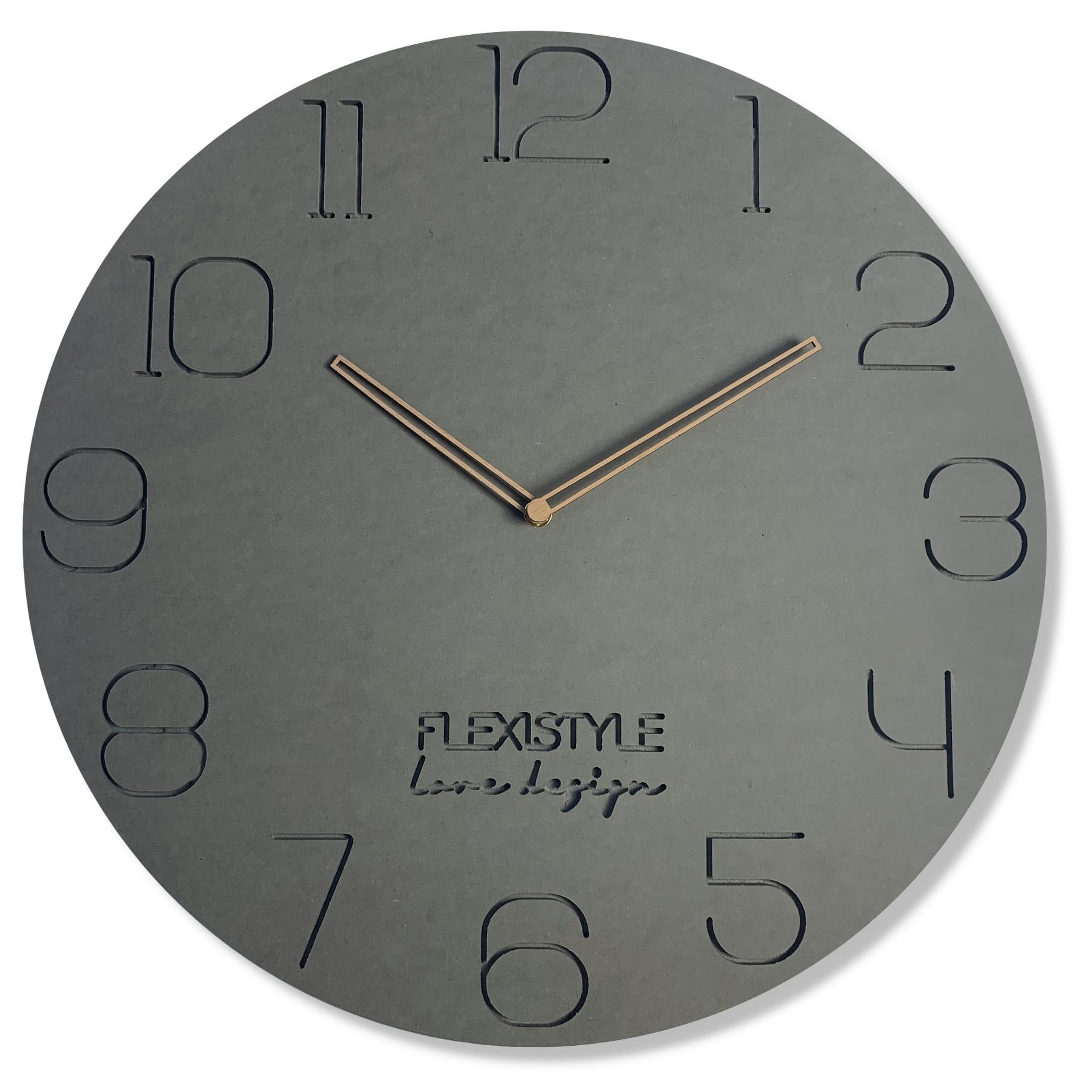 Nástěnné hodiny do obývacího pokoje v šedé barvě